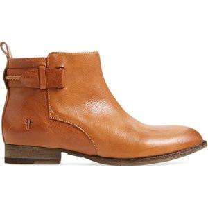 Frye Bella Belt Cognac/Tan Leather Ankle Booties